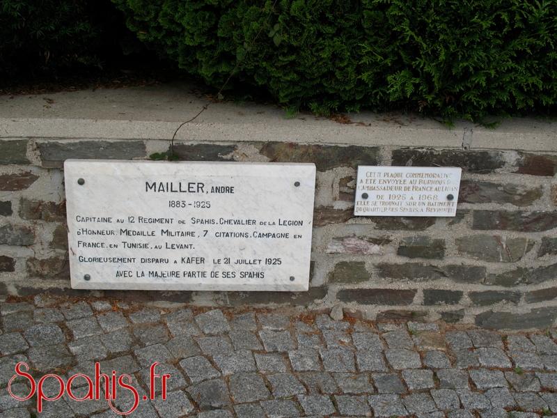 Plaque d'hommage au capitaine André Mailler