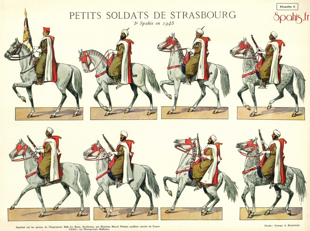 spahis du 5e Régiment de Spahis Marocains au défilé