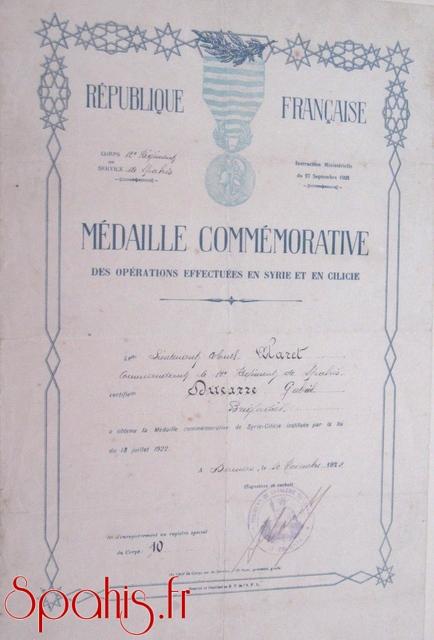 Diplôme de la médaille commémorative des opérations effectuées en Syrie et Cilicie, attribué à un brigadier du 12e RST