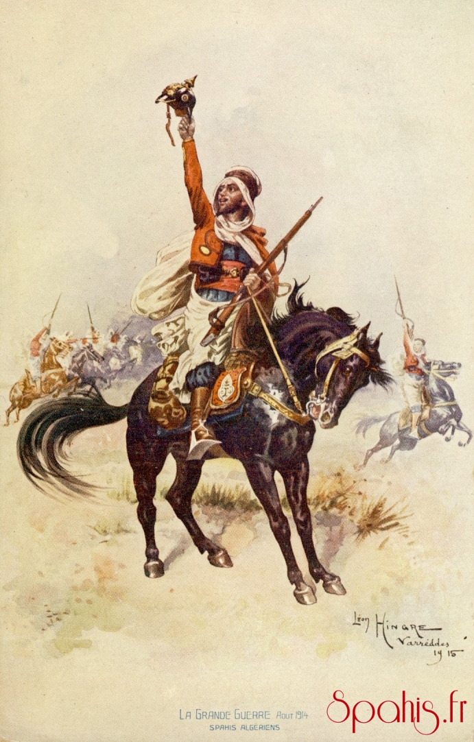 allégorie d'un spahi du 3e régiment de spahis brandissant un casque à pointe