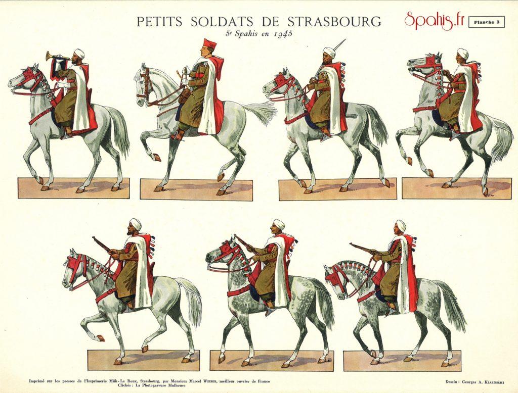 Planches des spahis du 5e Régiment de Spahis Marocains au défilé