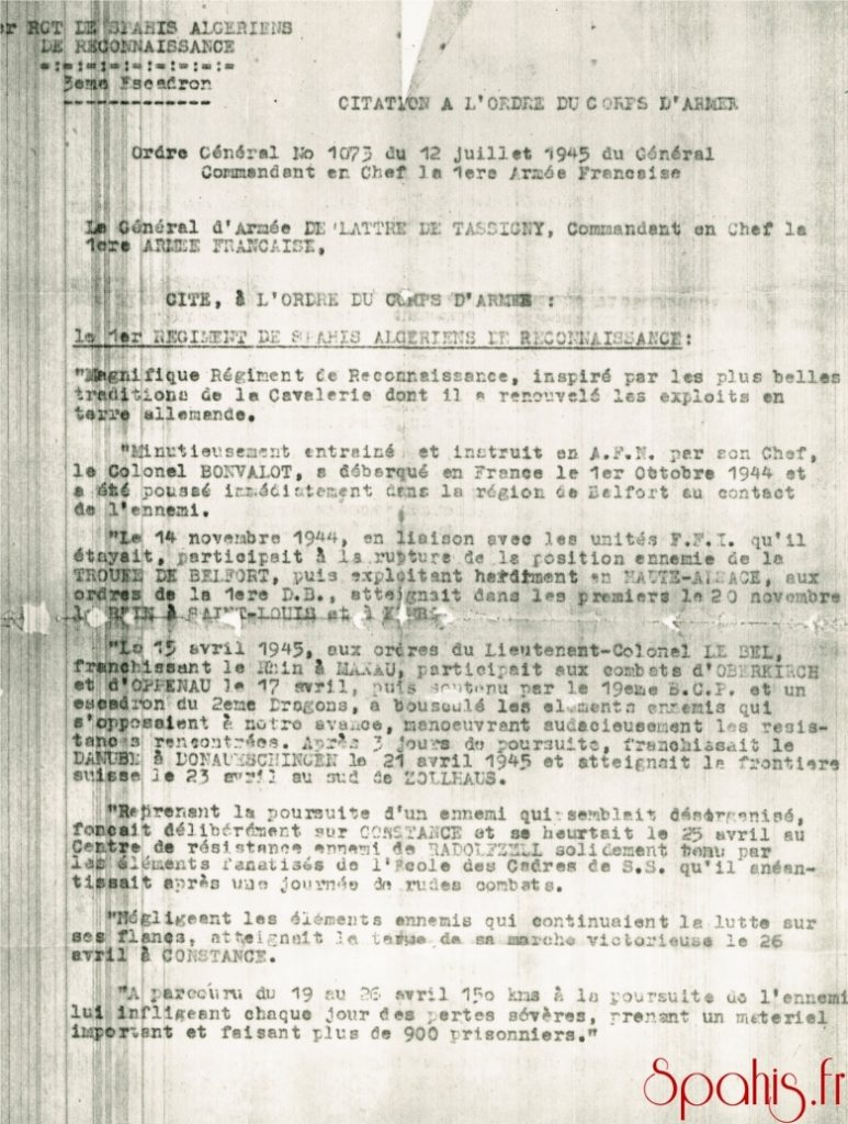 Citation à l'ordre du corps d'armée attribuée au 1er RSAR pour sa conduite durant la campagne 1944-1945.
