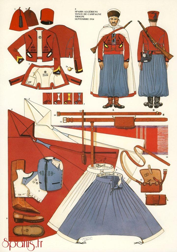 uniformes spahis de l'armée française de 1914 à 1945